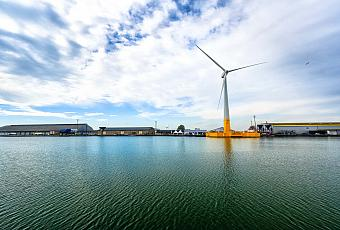 Ideol's floating wind turbine at quay (Saint-Nazaire)